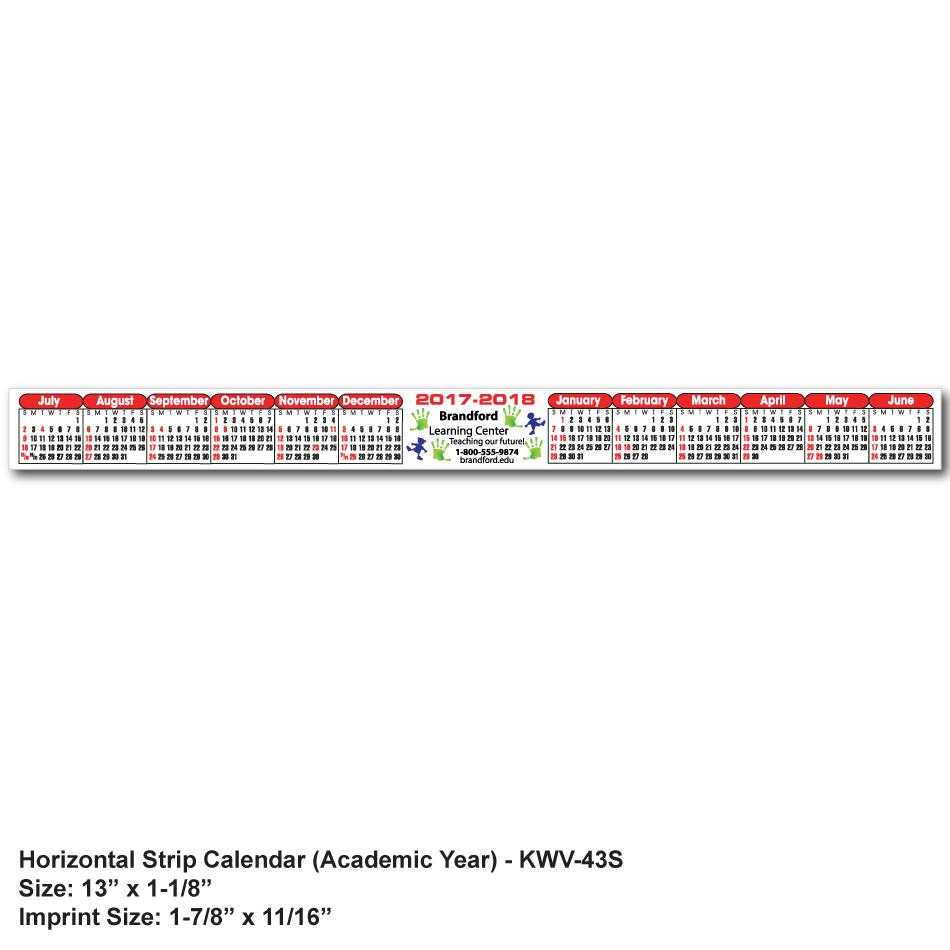 KWV-43 Kwik-Stik® Horizontal Strip Calendar - SPOT Color ...